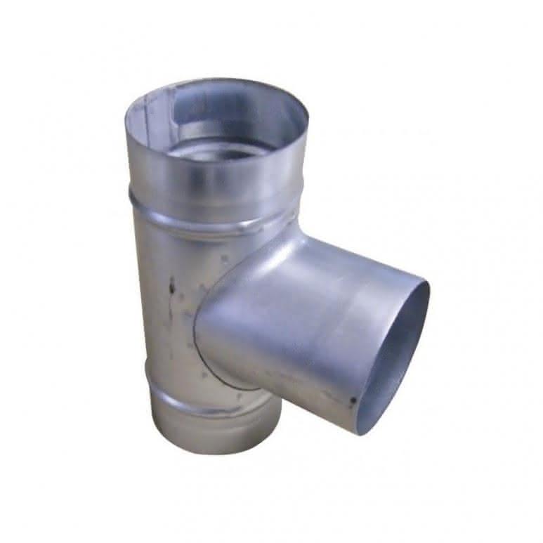 T-Stück Metall 3x125mm - 90-Grad - Stahlblech feuerverzinkt