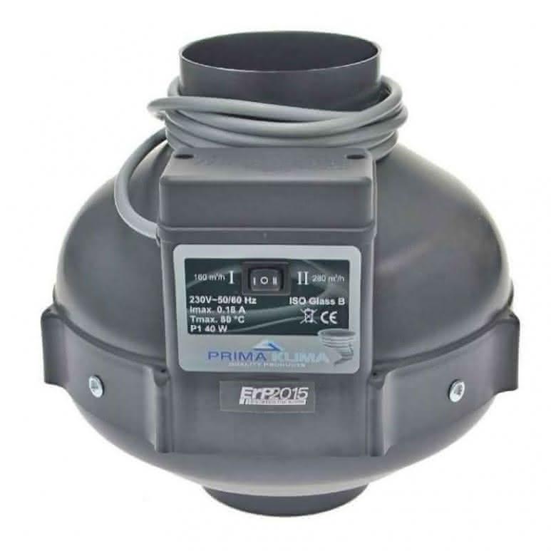 Prima-Klima Rohrventilator 2-Speed 160/280m³/h Ø100mm